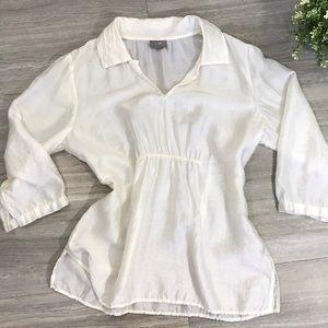 J.Jill off-white tencel shear blouse